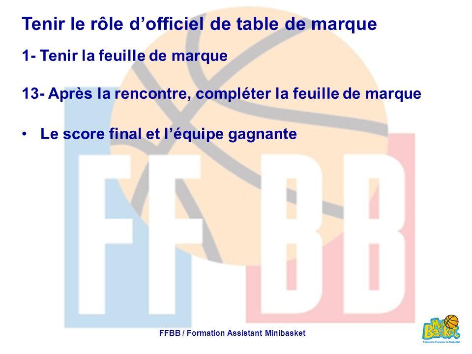 Tenir le rôle dofficiel de table de marque 1- Tenir la feuille de marque 13- Après la rencontre, compléter la feuille de marque Le score final et léqu