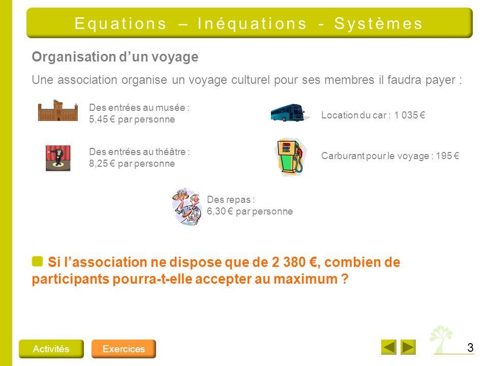 4 ActivitésExercices Equations – Inéquations - Systèmes Quel est donc le prix dun ticket pour un adulte .