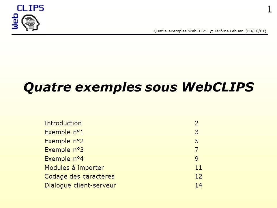 Quatre exemples WebCLIPS © Jérôme Lehuen (03/10/01) 2 Quest-ce que WebCLIPS .