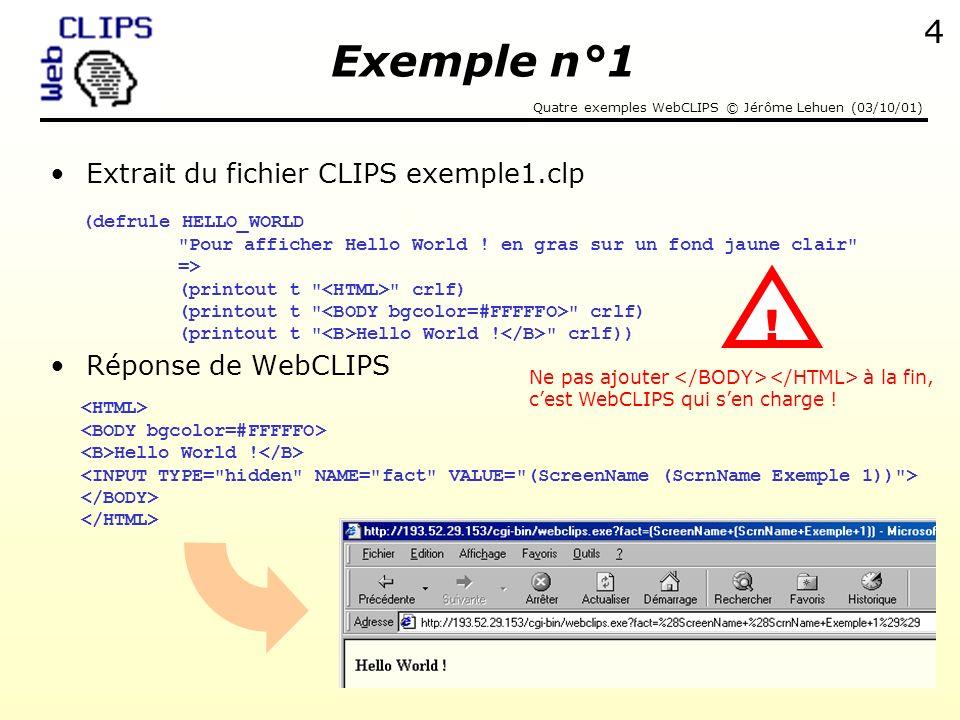 Quatre exemples WebCLIPS © Jérôme Lehuen (03/10/01) 5 Exemple 2 : assertion dun fait sélectionné dans une list box Exemple WebCLIPS ajouter le pattern (fait numero 1) ajouter le pattern (fait numero 2) Exemple n°2