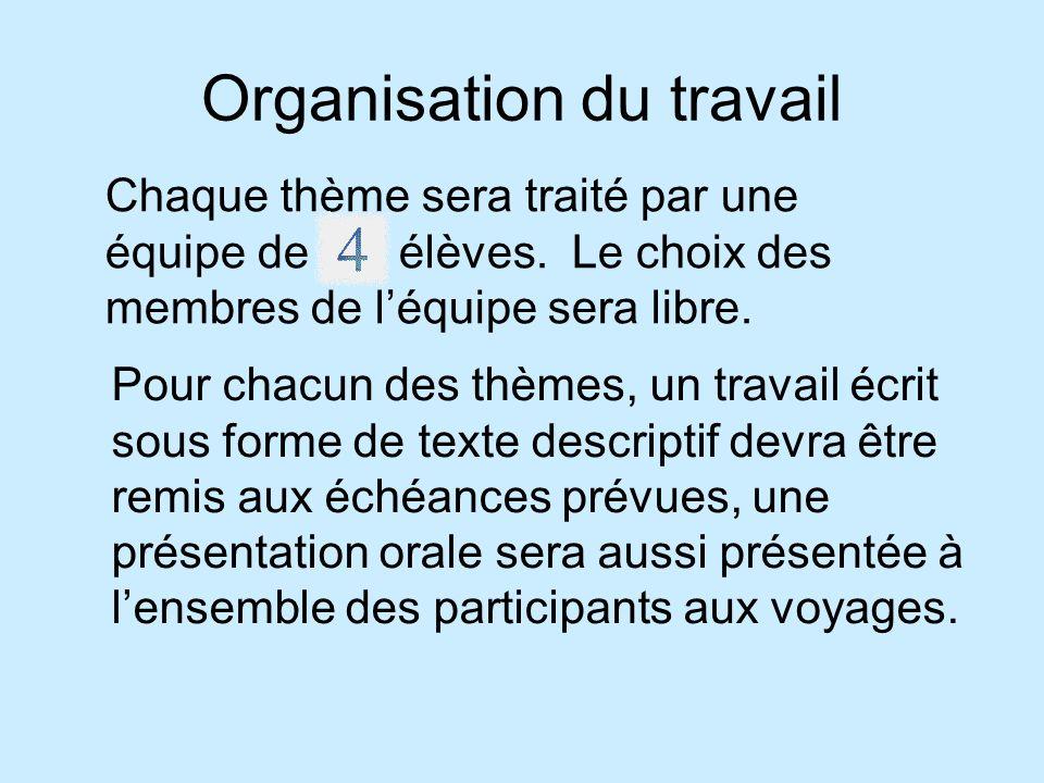 Organisation du travail Pour chacun des thèmes, un travail écrit sous forme de texte descriptif devra être remis aux échéances prévues, une présentation orale sera aussi présentée à lensemble des participants aux voyages.