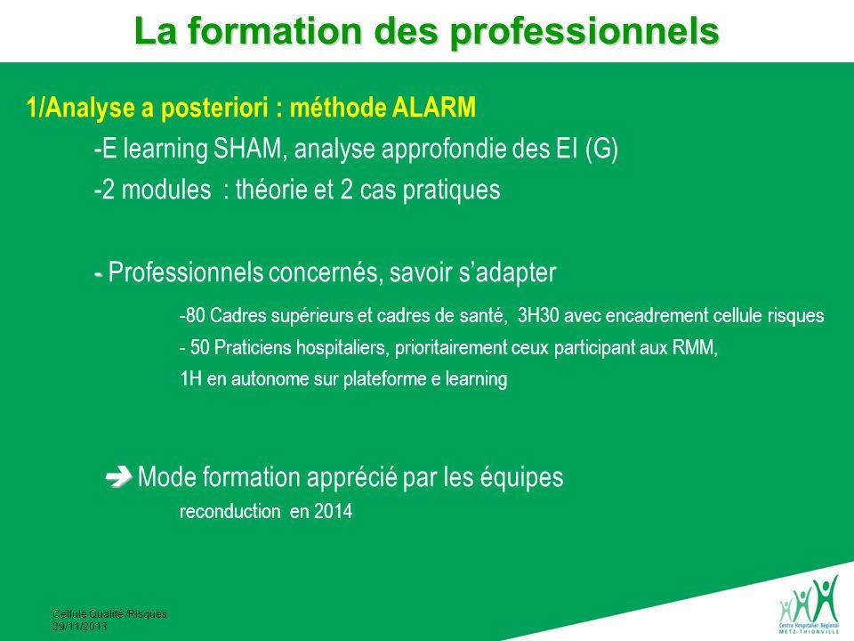 Cellule Qualité /Risques 29/11/2013 1/Analyse a posteriori : méthode ALARM -E learning SHAM, analyse approfondie des EI (G) -2 modules : théorie et 2