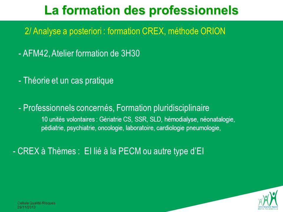 Cellule Qualité /Risques 29/11/2013 - AFM42, Atelier formation de 3H30 - Théorie et un cas pratique - Professionnels concernés, Formation pluridiscipl