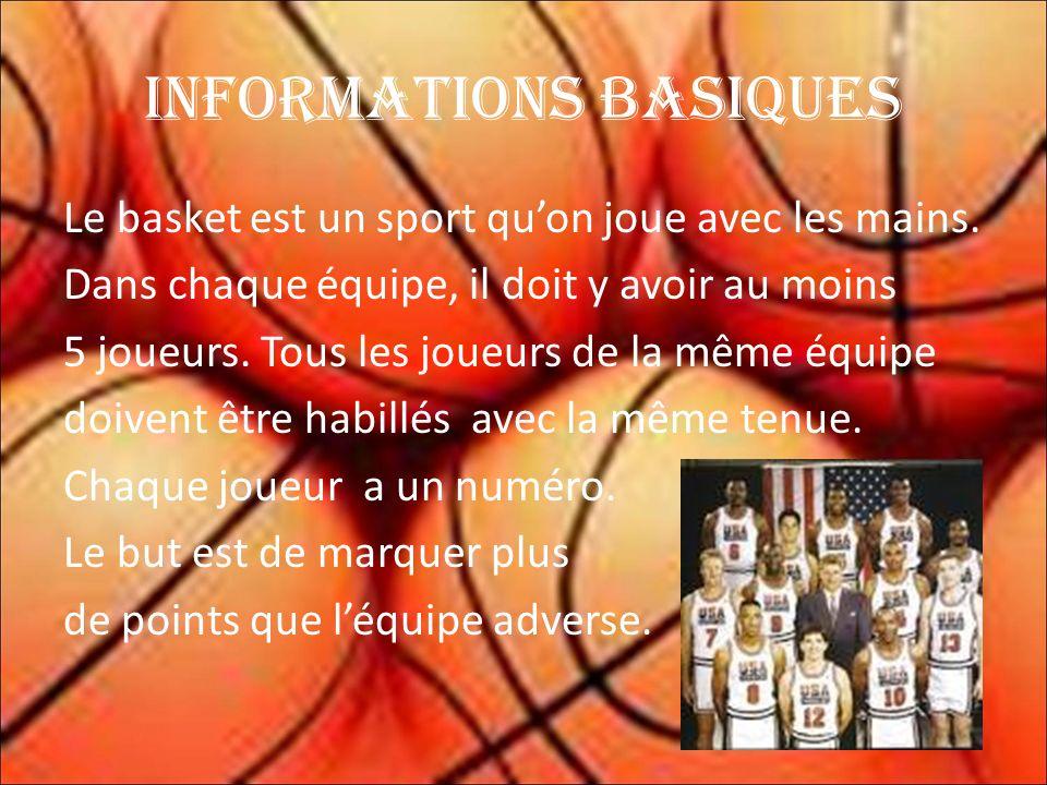 Informations basiques Le basket est un sport quon joue avec les mains.