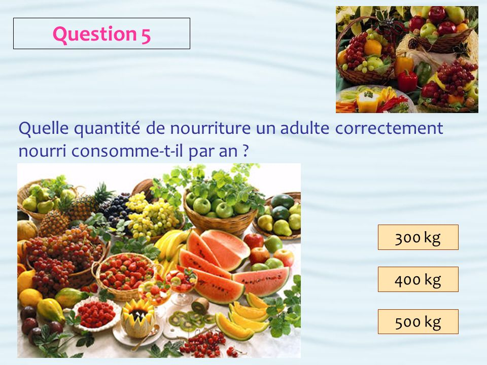 300 kg 400 kg 500 kg Question 5 Quelle quantité de nourriture un adulte correctement nourri consomme-t-il par an ?
