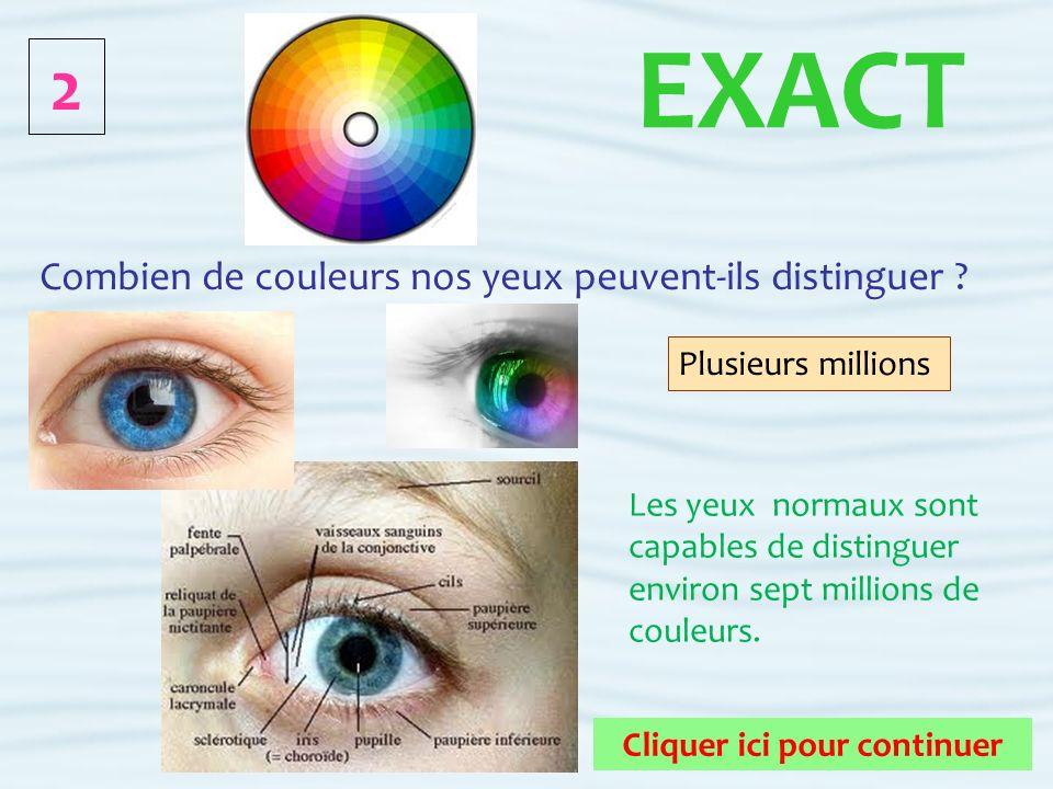 2 Cliquer ici pour continuer FAUX Combien de couleurs nos yeux peuvent-ils distinguer .