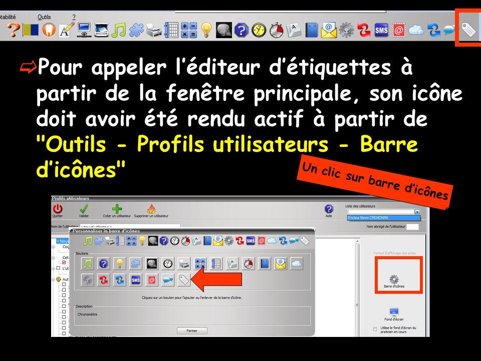 Pour appeler léditeur détiquettes à partir de la fenêtre principale, son icône doit avoir été rendu actif à partir de Outils - Profils utilisateurs - Barre dicônes Un clic sur barre dicônes