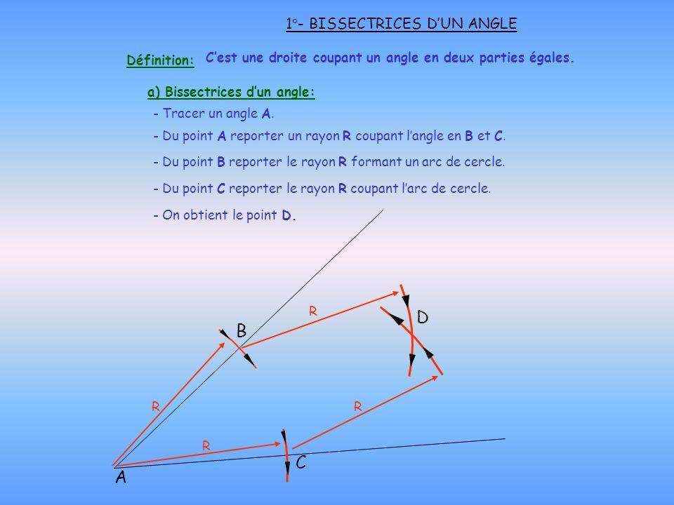 a) Bissectrices dun angle: - Du point A reporter un rayon R coupant langle en B et C. 1°- BISSECTRICES DUN ANGLE A D R - Du point B reporter le rayon
