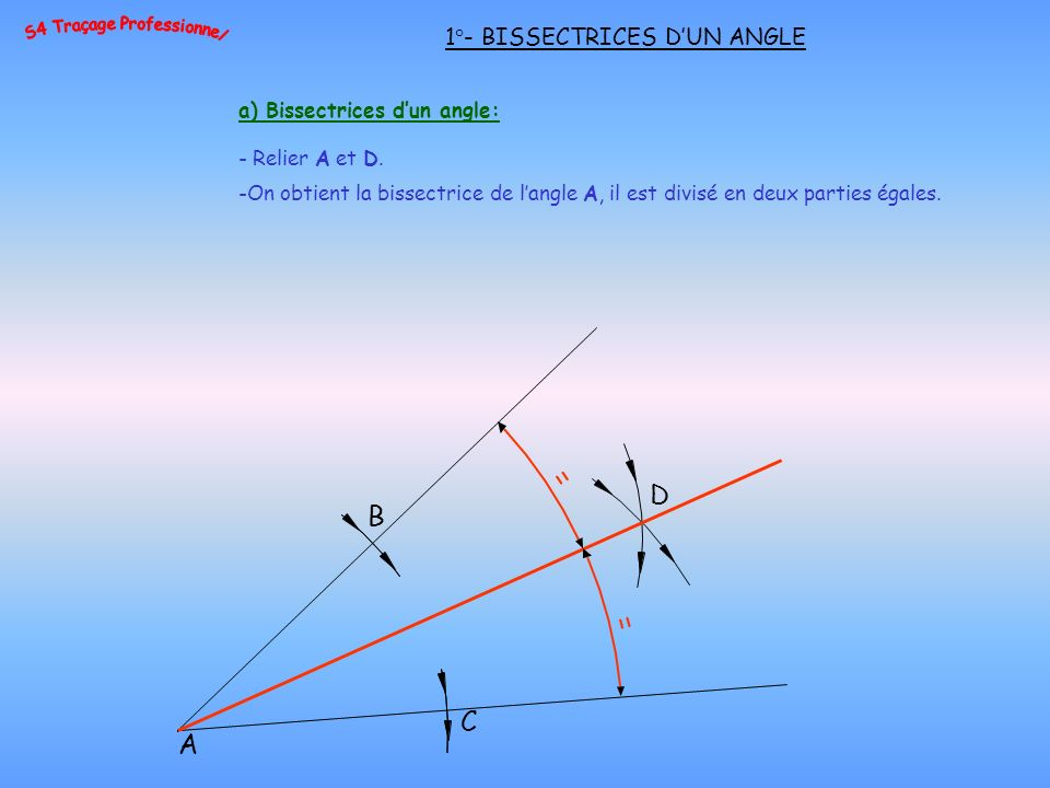 a) Bissectrices dun angle: - Relier A et D.
