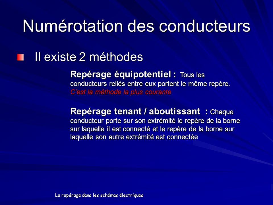 Le repérage dans les schémas électriques Numérotation des conducteurs Il existe 2 méthodes Repérage équipotentiel : Tous les conducteurs reliés entre