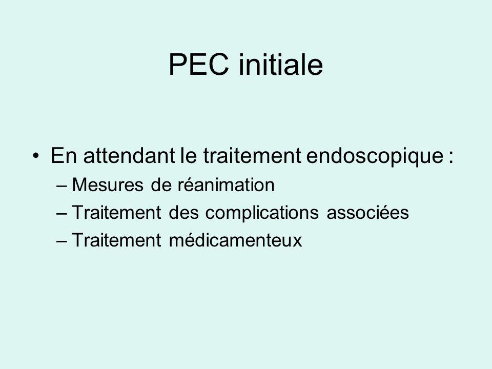 PEC initiale En attendant le traitement endoscopique : –Mesures de réanimation –Traitement des complications associées –Traitement médicamenteux