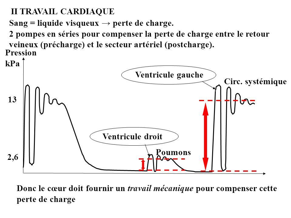 Pression kPa 13 2,6 Sang = liquide visqueux perte de charge. 2 pompes en séries pour compenser la perte de charge entre le retour veineux (précharge)