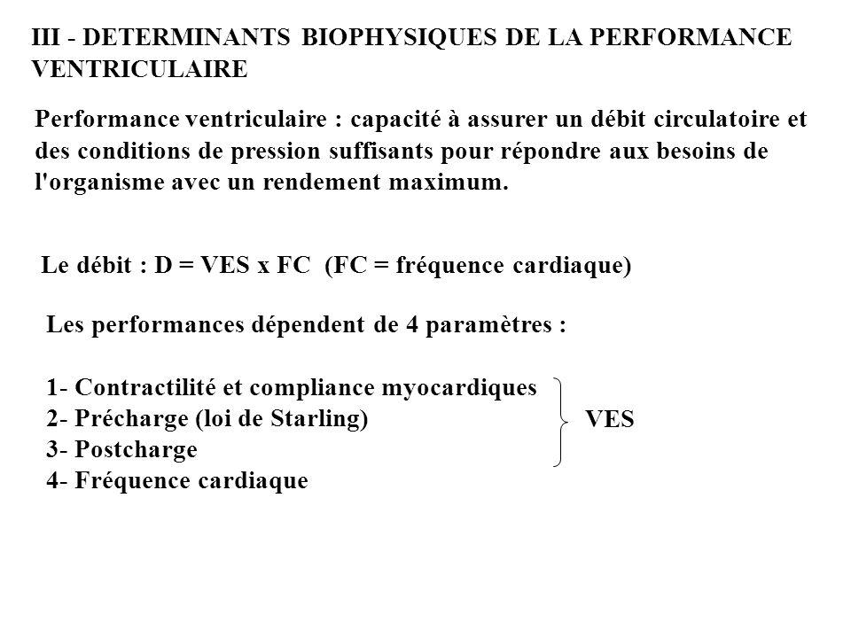 III - DETERMINANTS BIOPHYSIQUES DE LA PERFORMANCE VENTRICULAIRE Performance ventriculaire : capacité à assurer un débit circulatoire et des conditions