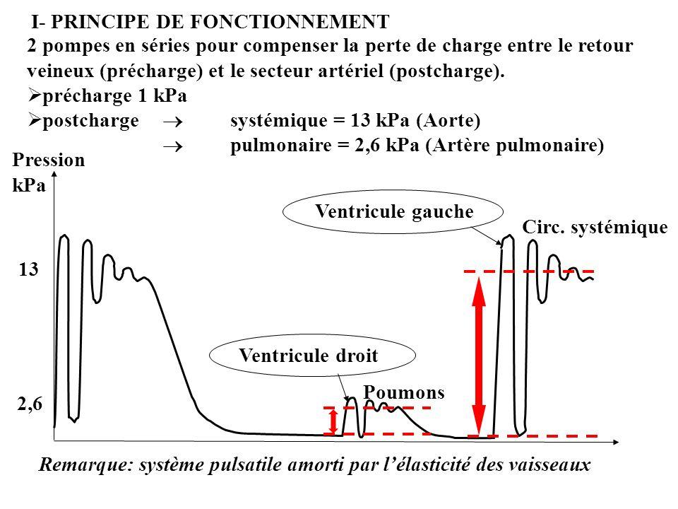 Chaque pompe : 1 Chambre d admission (basse pression) Pré charge 1 Post charge 2 2 Valve d admission (tricuspide, mitrale) 3 3 Ventricule (droit, gauche) 4 4 Valve d éjection (pulmonaire, aortique)