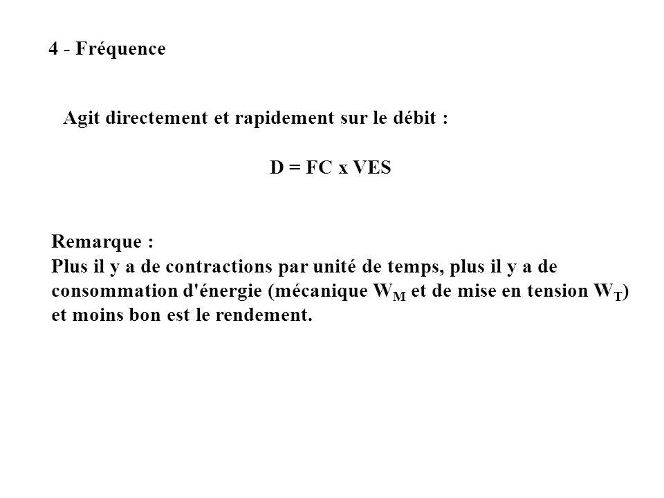 4 - Fréquence Agit directement et rapidement sur le débit : D = FC x VES Remarque : Plus il y a de contractions par unité de temps, plus il y a de con