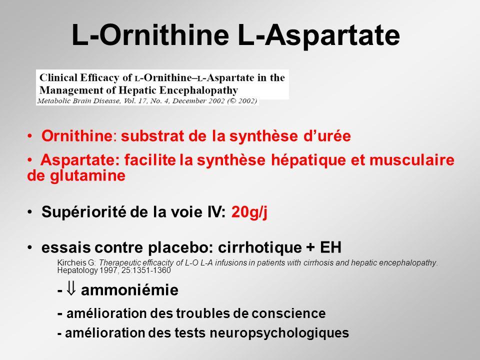L-Ornithine L-Aspartate Ornithine: substrat de la synthèse durée Aspartate: facilite la synthèse hépatique et musculaire de glutamine Supériorité de la voie IV: 20g/j essais contre placebo: cirrhotique + EH Kircheis G: Therapeutic efficacity of L-O L-A infusions in patients with cirrhosis and hepatic encephalopathy.