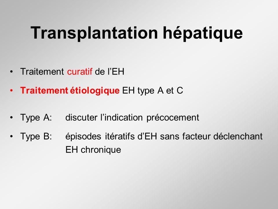 Transplantation hépatique Traitement curatif de lEH Traitement étiologique EH type A et C Type A: discuter lindication précocement Type B: épisodes itératifs dEH sans facteur déclenchant EH chronique