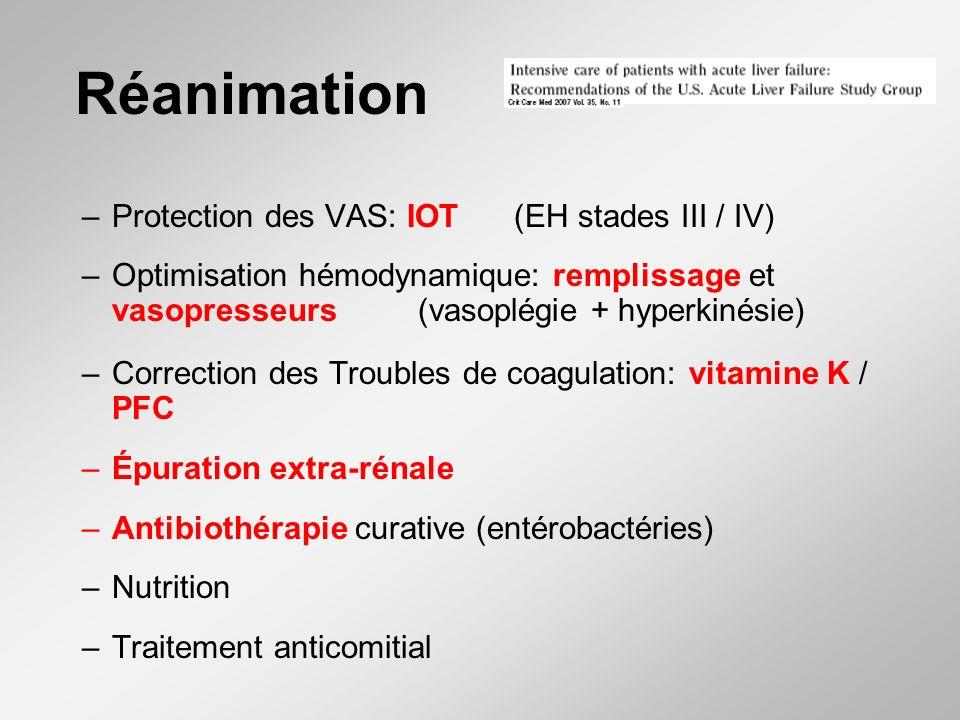 Réanimation –Protection des VAS: IOT(EH stades III / IV) –Optimisation hémodynamique: remplissage et vasopresseurs (vasoplégie + hyperkinésie) –Correction des Troubles de coagulation: vitamine K / PFC –Épuration extra-rénale –Antibiothérapie curative (entérobactéries) –Nutrition –Traitement anticomitial