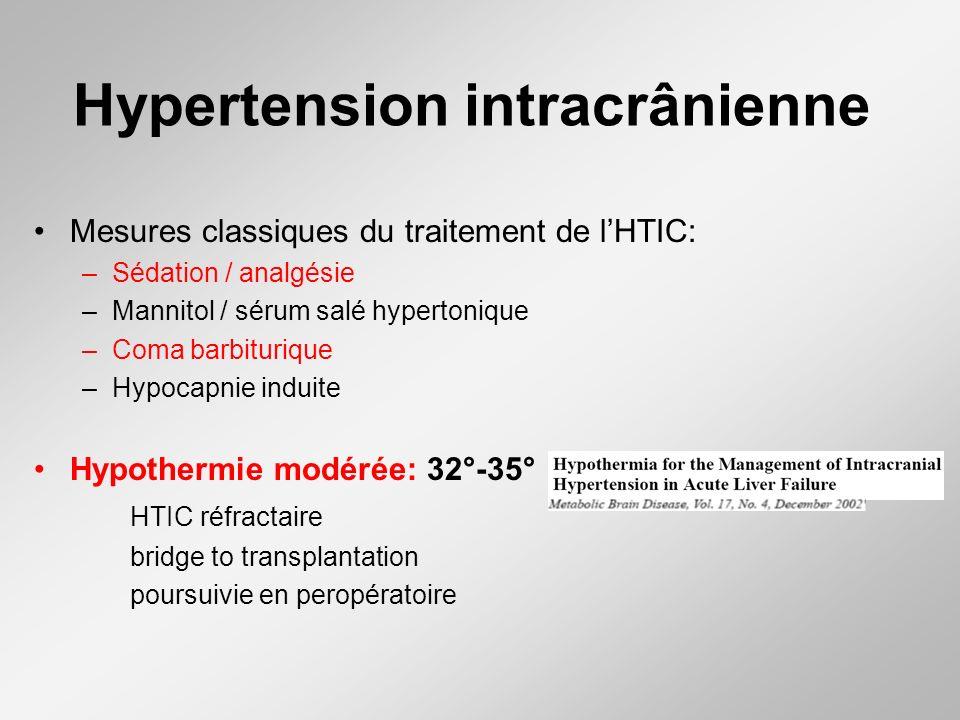 Hypertension intracrânienne Mesures classiques du traitement de lHTIC: –Sédation / analgésie –Mannitol / sérum salé hypertonique –Coma barbiturique –H