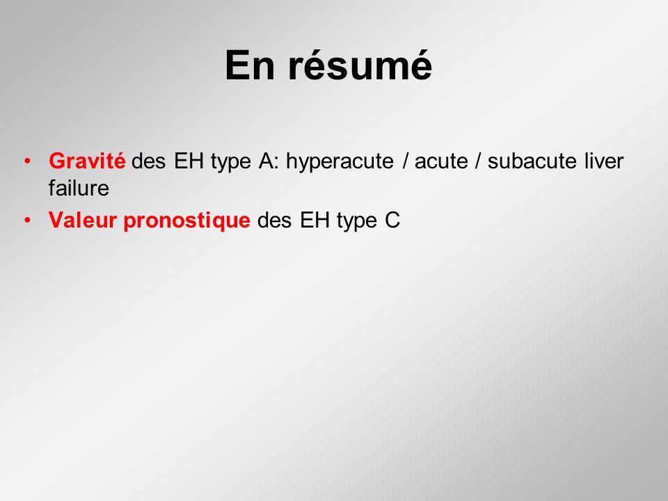 En résumé Gravité des EH type A: hyperacute / acute / subacute liver failure Valeur pronostique des EH type C