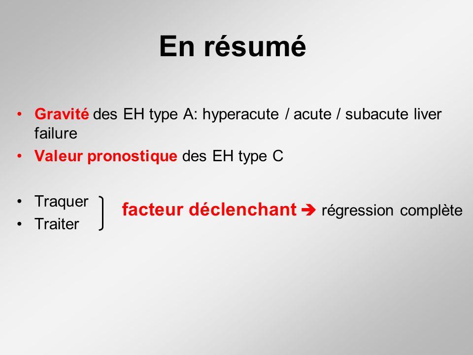 En résumé Gravité des EH type A: hyperacute / acute / subacute liver failure Valeur pronostique des EH type C Traquer Traiter facteur déclenchant régression complète