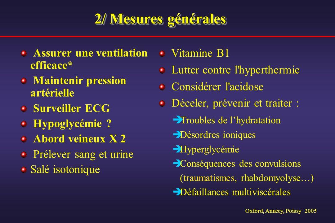 Oxford, Annecy, Poissy 2005 2/ Mesures générales Assurer une ventilation efficace* Maintenir pression artérielle Surveiller ECG Hypoglycémie ? Abord v