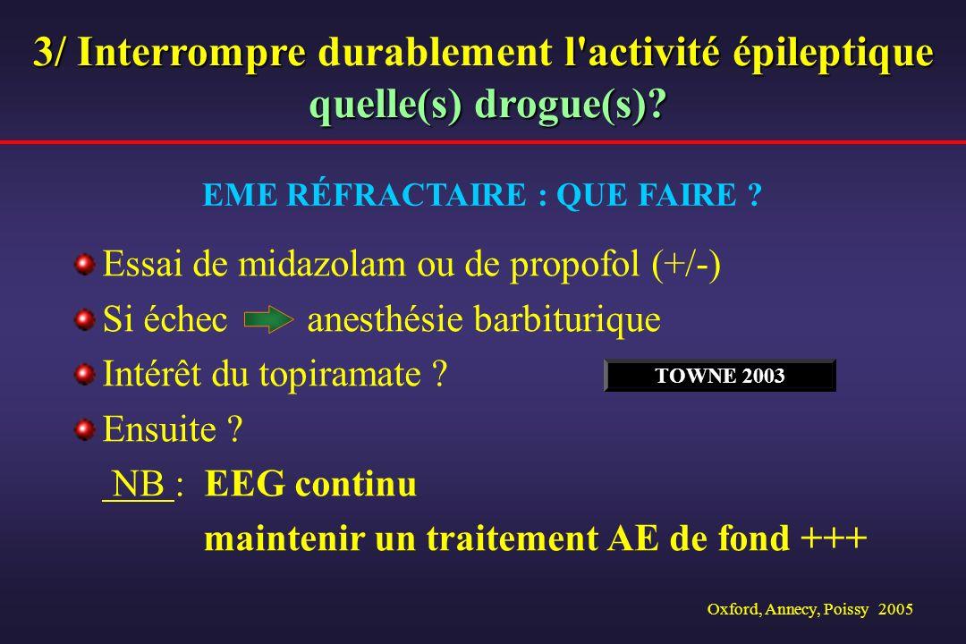 Oxford, Annecy, Poissy 2005 Essai de midazolam ou de propofol (+/-) Si échec anesthésie barbiturique Intérêt du topiramate ? Ensuite ? NB : EEG contin