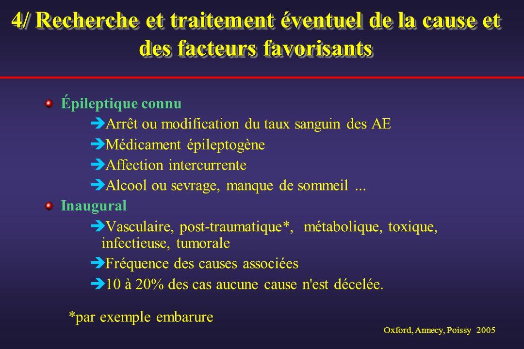 Oxford, Annecy, Poissy 2005 4/ Recherche et traitement éventuel de la cause et des facteurs favorisants Épileptique connu Arrêt ou modification du tau