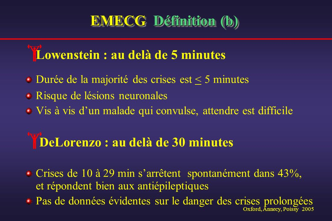 Oxford, Annecy, Poissy 2005 EMECG Définition (b) Lowenstein : au delà de 5 minutes Durée de la majorité des crises est < 5 minutes Risque de lésions n