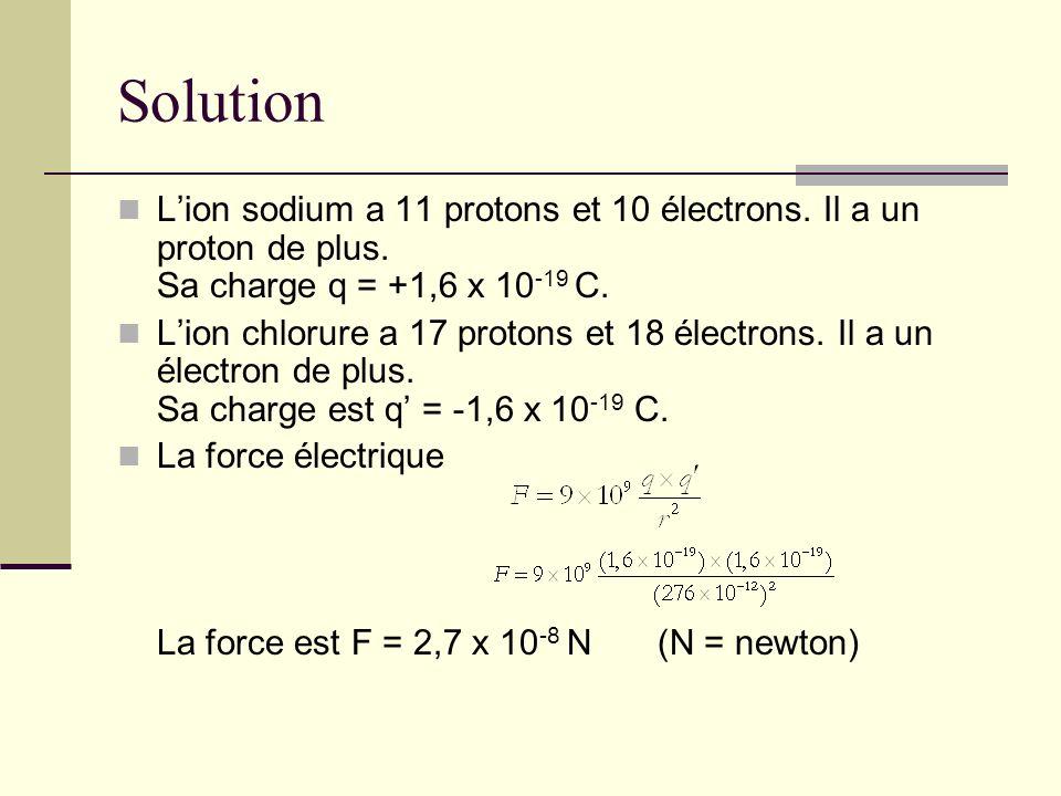 Solution Lion sodium a 11 protons et 10 électrons. Il a un proton de plus. Sa charge q = +1,6 x 10 -19 C. Lion chlorure a 17 protons et 18 électrons.