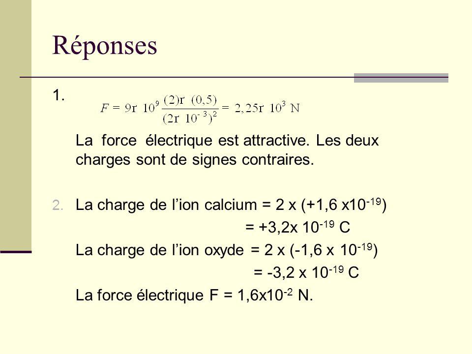 Réponses 1. La force électrique est attractive. Les deux charges sont de signes contraires. 2. La charge de lion calcium = 2 x (+1,6 x10 -19 ) = +3,2x
