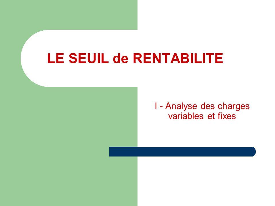 LE SEUIL de RENTABILITE I - Analyse des charges variables et fixes