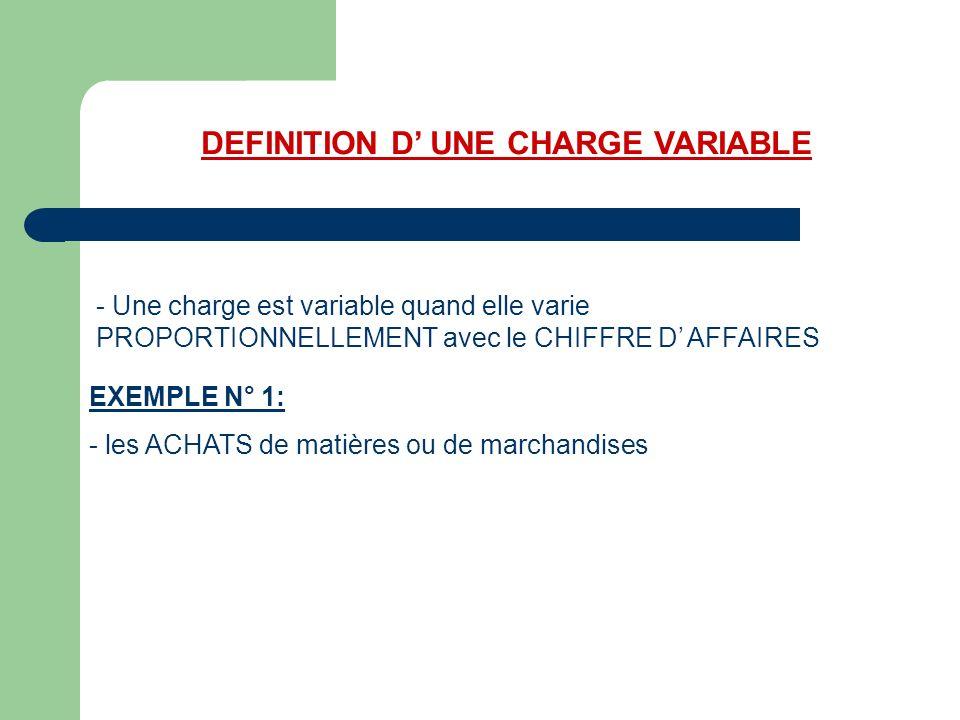 DEFINITION D UNE CHARGE VARIABLE - Une charge est variable quand elle varie PROPORTIONNELLEMENT avec le CHIFFRE D AFFAIRES EXEMPLE N° 1 : - les ACHATS de matières ou de marchandises Si le CA double, les achats de marchandises sont multipliées par 2