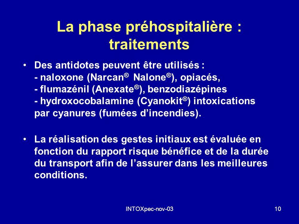 INTOXpec-nov-0310 La phase préhospitalière : traitements Des antidotes peuvent être utilisés : - naloxone (Narcan ® Nalone ® ), opiacés, - flumazénil