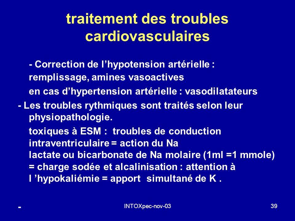 INTOXpec-nov-0339 traitement des troubles cardiovasculaires - Correction de lhypotension artérielle : remplissage, amines vasoactives en cas dhyperten