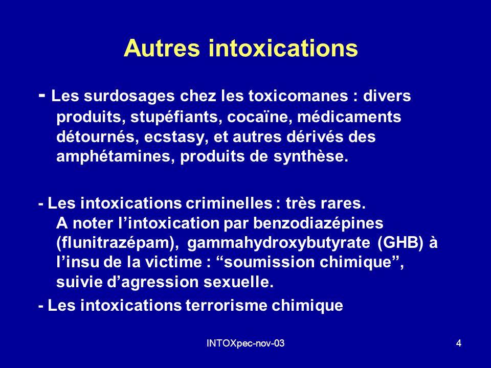 INTOXpec-nov-034 Autres intoxications - Les surdosages chez les toxicomanes : divers produits, stupéfiants, cocaïne, médicaments détournés, ecstasy, e