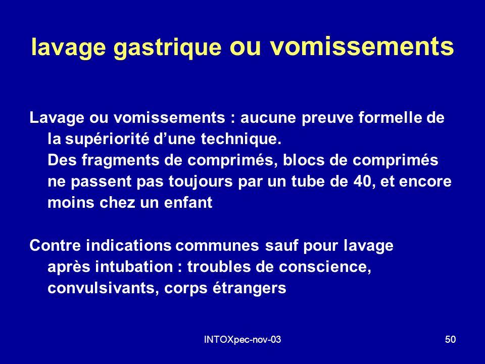 INTOXpec-nov-0350 lavage gastrique ou vomissements Lavage ou vomissements : aucune preuve formelle de la supériorité dune technique. Des fragments de