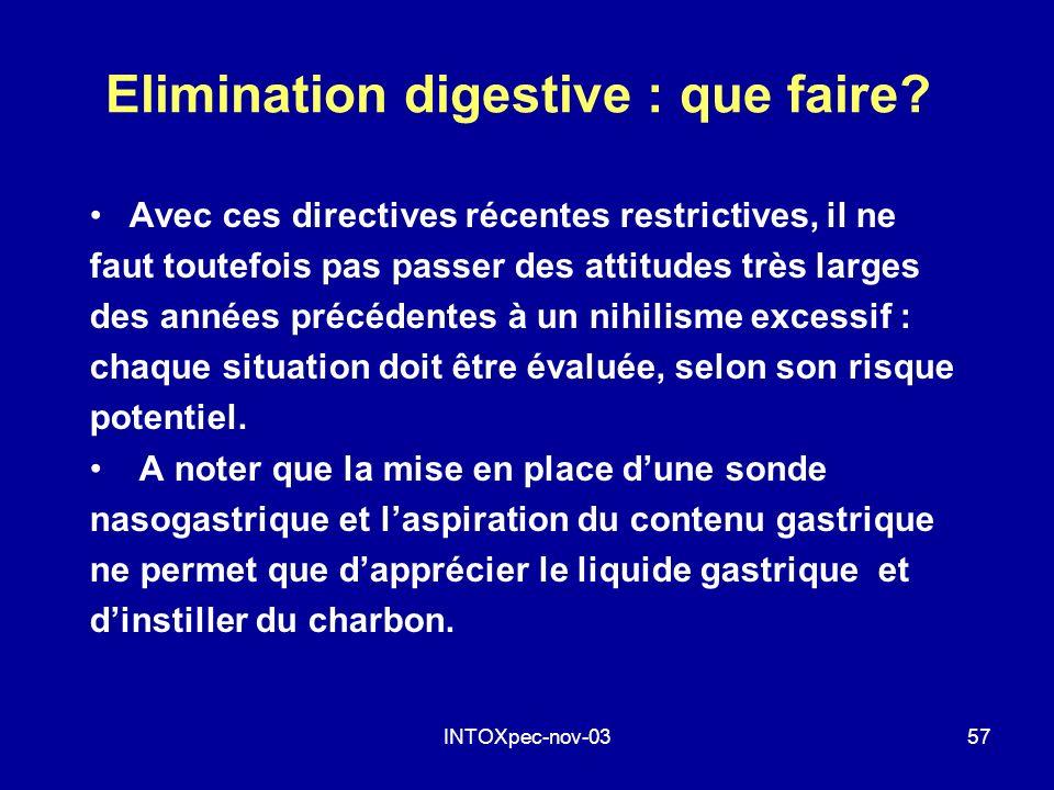 INTOXpec-nov-0357 Elimination digestive : que faire? Avec ces directives récentes restrictives, il ne faut toutefois pas passer des attitudes très lar