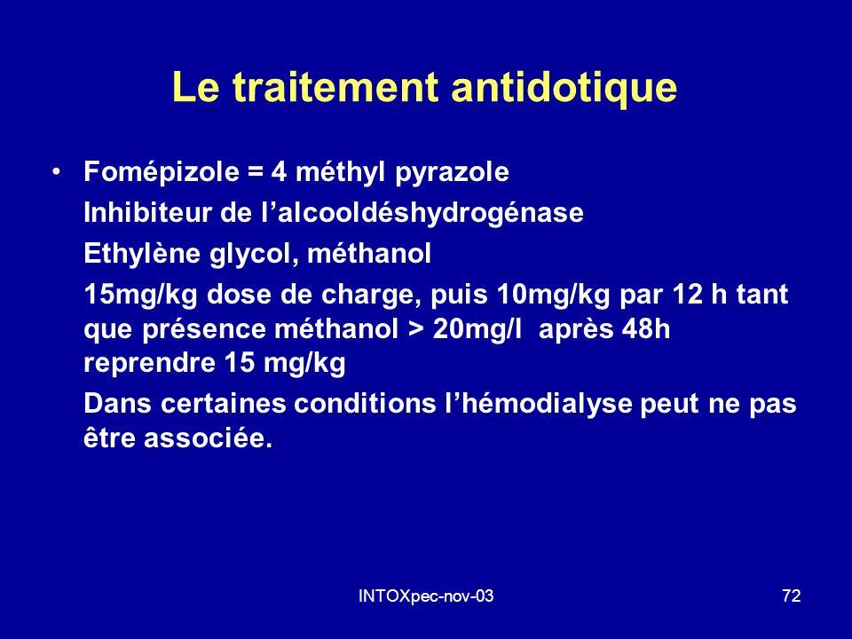 INTOXpec-nov-0372 Le traitement antidotique Fomépizole = 4 méthyl pyrazole Inhibiteur de lalcooldéshydrogénase Ethylène glycol, méthanol 15mg/kg dose