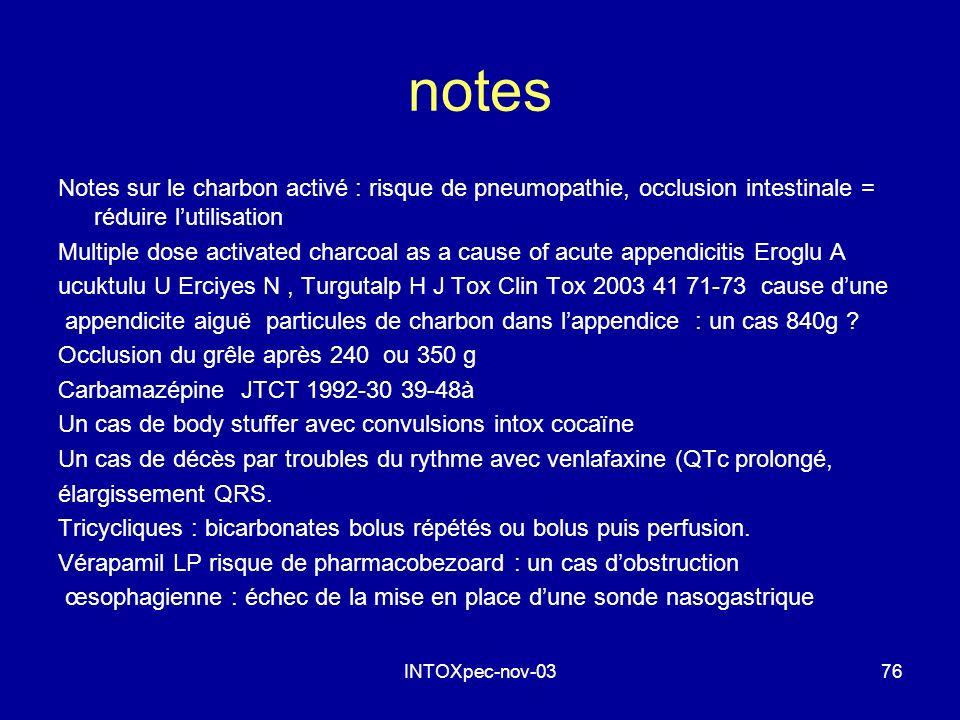 INTOXpec-nov-0376 notes Notes sur le charbon activé : risque de pneumopathie, occlusion intestinale = réduire lutilisation Multiple dose activated cha