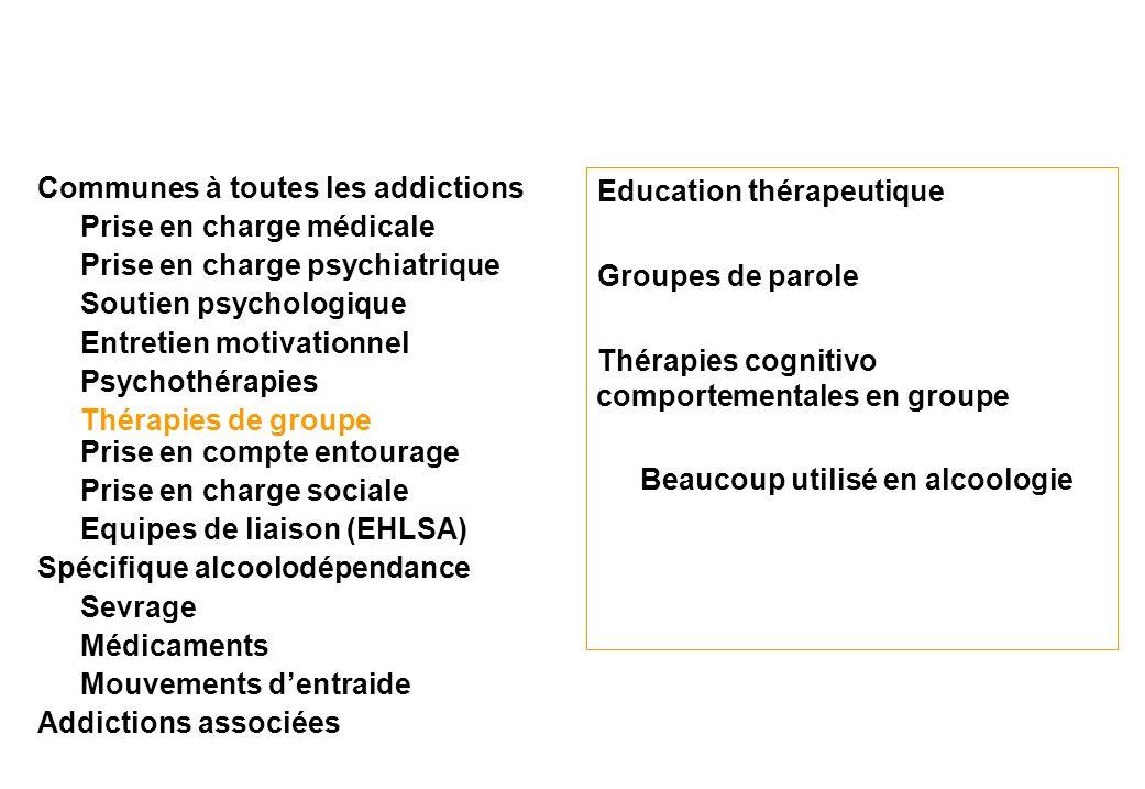 Education thérapeutique Groupes de parole Thérapies cognitivo comportementales en groupe Beaucoup utilisé en alcoologie Communes à toutes les addictio
