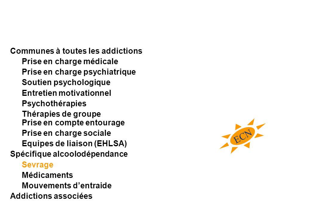 ECN Communes à toutes les addictions Prise en charge médicale Prise en charge psychiatrique Soutien psychologique Entretien motivationnel Psychothérap