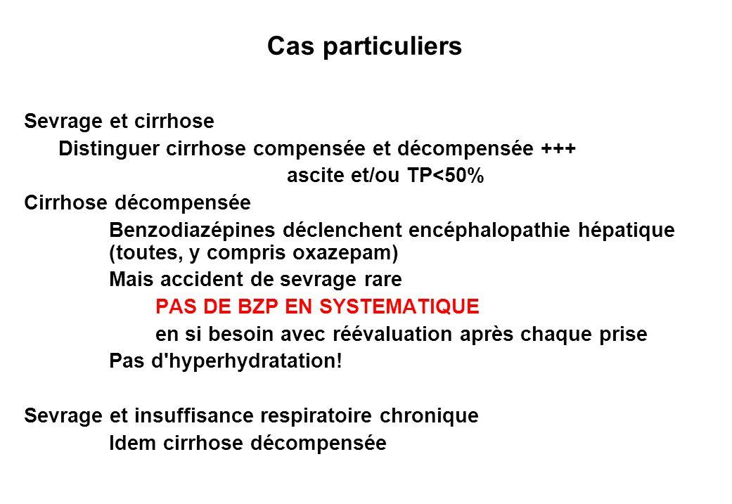 Cas particuliers Sevrage et cirrhose Distinguer cirrhose compensée et décompensée +++ ascite et/ou TP<50% Cirrhose décompensée Benzodiazépines déclenc