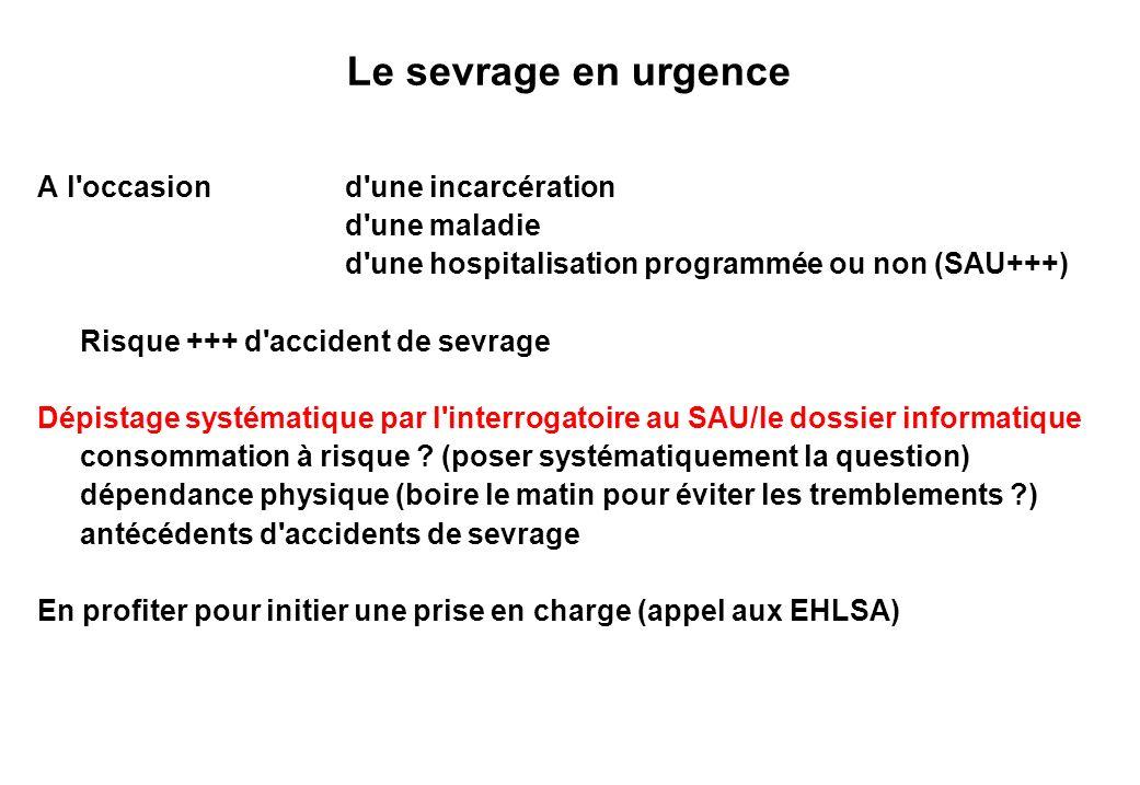 Le sevrage en urgence A l'occasion d'une incarcération d'une maladie d'une hospitalisation programmée ou non (SAU+++) Risque +++ d'accident de sevrage