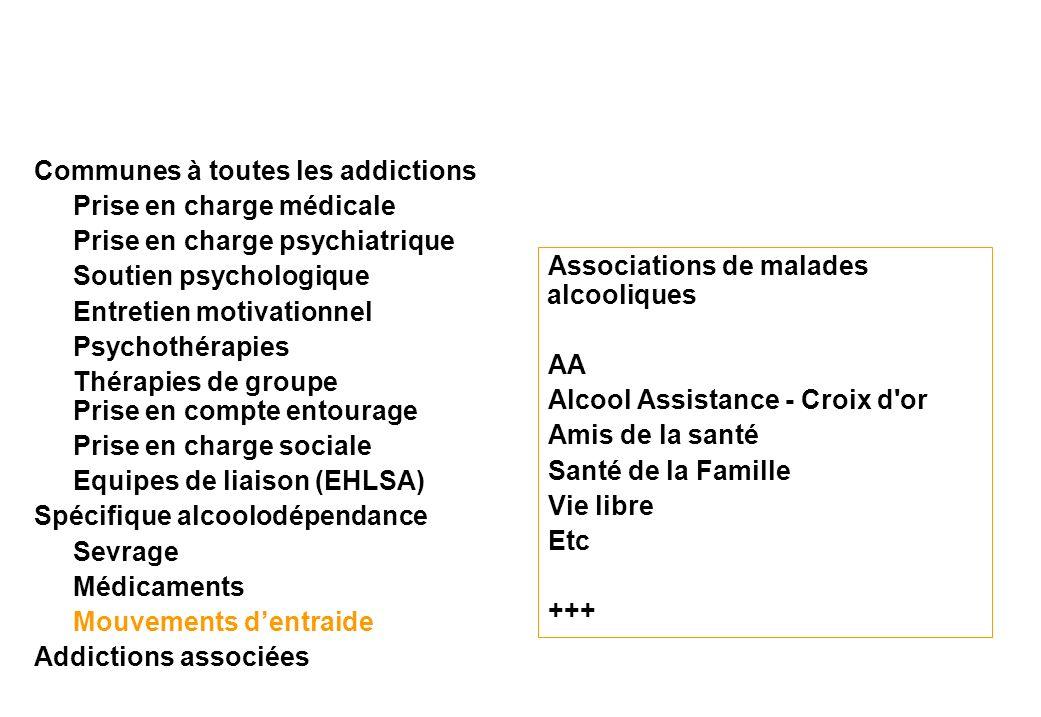 Associations de malades alcooliques AA Alcool Assistance - Croix d'or Amis de la santé Santé de la Famille Vie libre Etc +++ Communes à toutes les add
