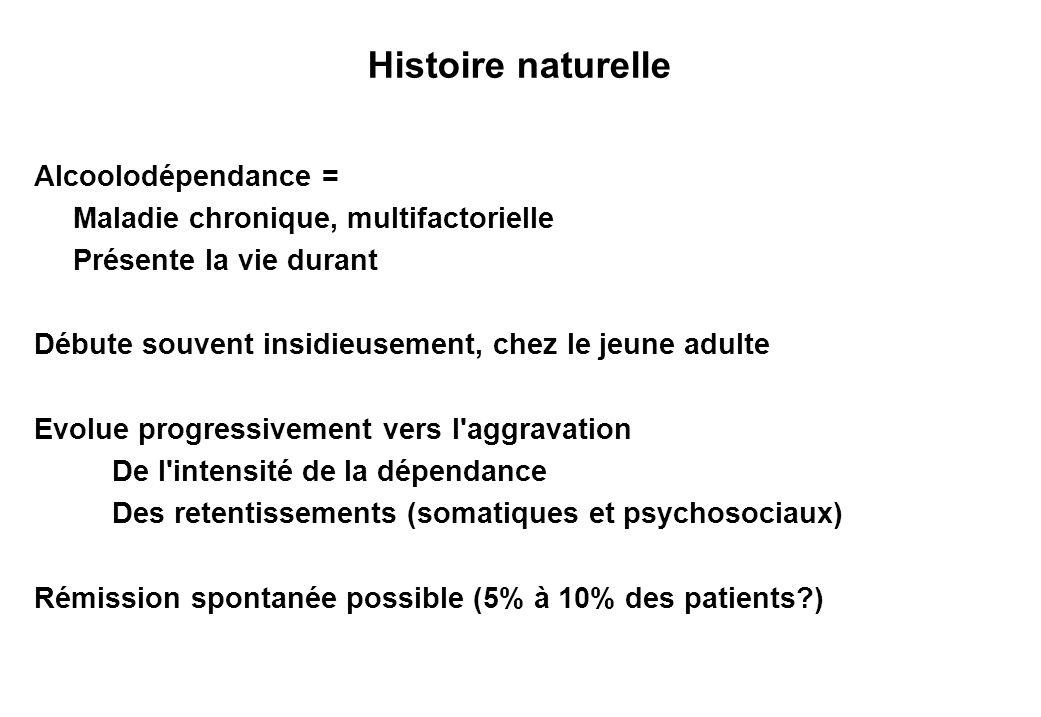 Histoire naturelle Alcoolodépendance = Maladie chronique, multifactorielle Présente la vie durant Débute souvent insidieusement, chez le jeune adulte