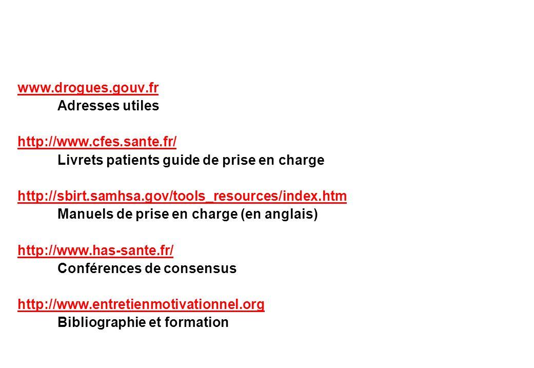 www.drogues.gouv.fr Adresses utiles http://www.cfes.sante.fr/ Livrets patients guide de prise en charge http://sbirt.samhsa.gov/tools_resources/index.