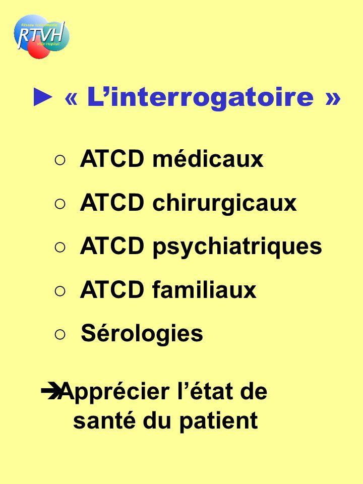 « Linterrogatoire » ATCD médicaux ATCD chirurgicaux ATCD psychiatriques ATCD familiaux Sérologies Apprécier létat de santé du patient