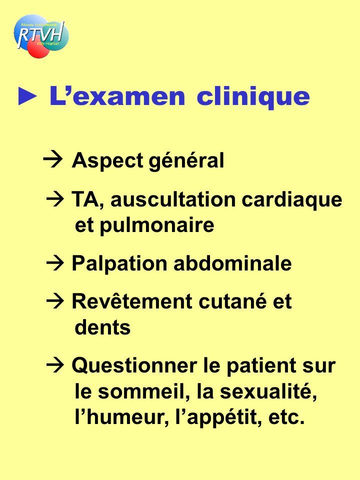 Lexamen clinique Aspect général TA, auscultation cardiaque et pulmonaire Palpation abdominale Revêtement cutané et dents Questionner le patient sur le