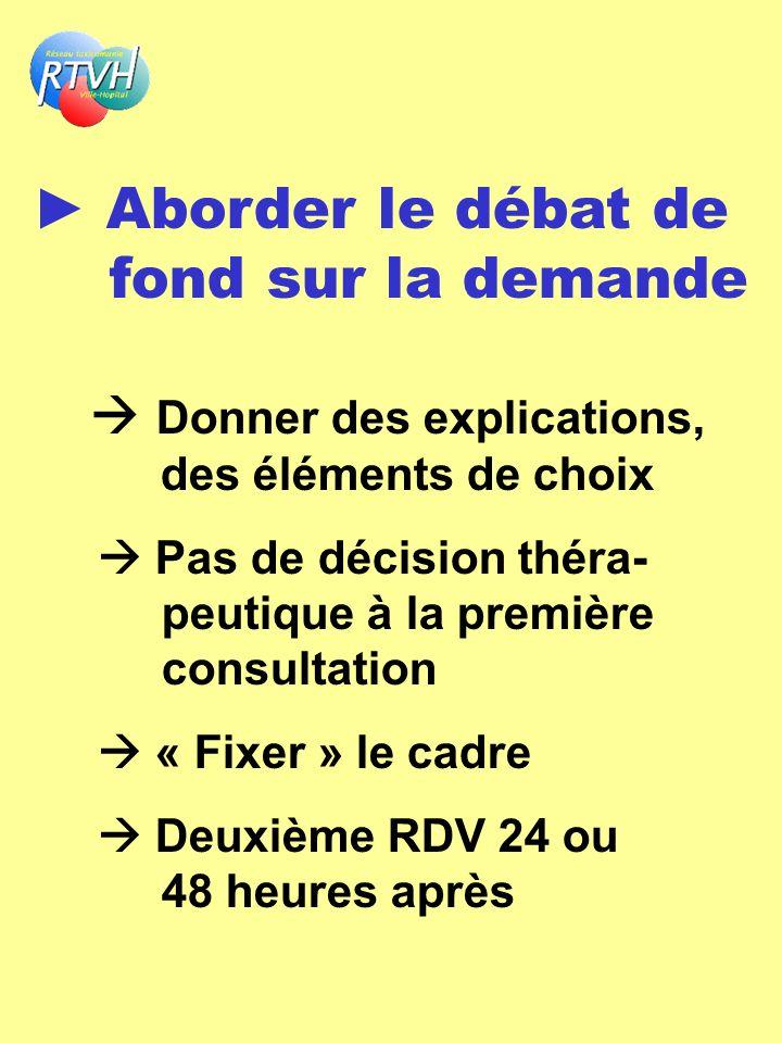 Aborder le débat de fond sur la demande Donner des explications, des éléments de choix Pas de décision théra- peutique à la première consultation « Fi